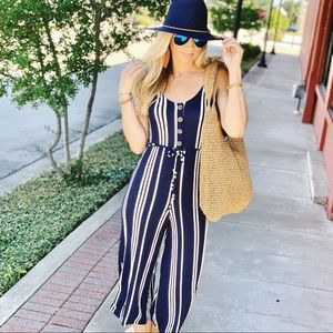 IF I WERE YOU JUMPSUIT-NAVY STRIPED
